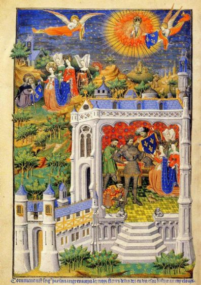 An Angel Sending the Fleurs de Lis to King Clovis. 15th Century Illuminated Manuscript Art Print/Poster. Sizes: A4/A3/A2/A1 (00189)